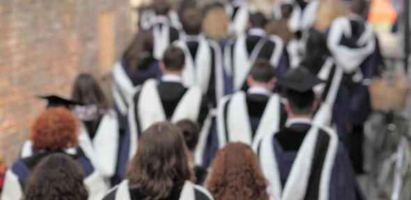 Cambridge graduates at graduation ceremony